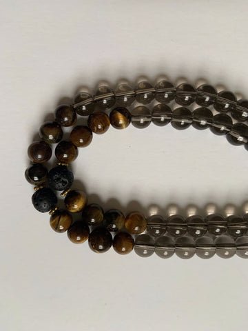 108 Mala for Kindra ~ Genuine Smoky Quartz & Tigers Eye - Black Tassel
