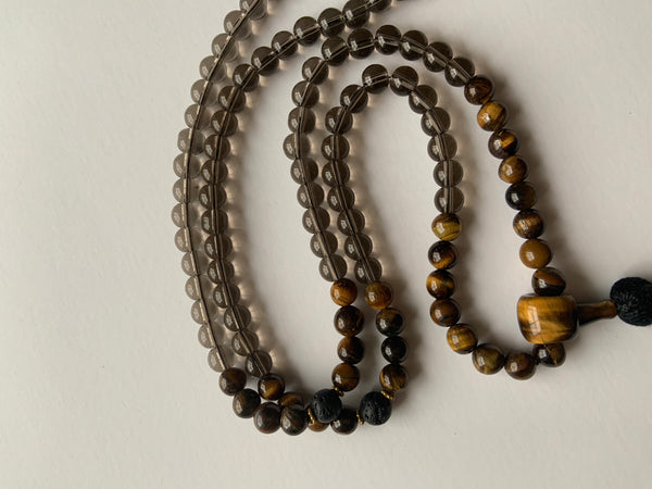 111 Gem Mala - Genuine Smoky Quartz & Tigers Eye - Black Tassel