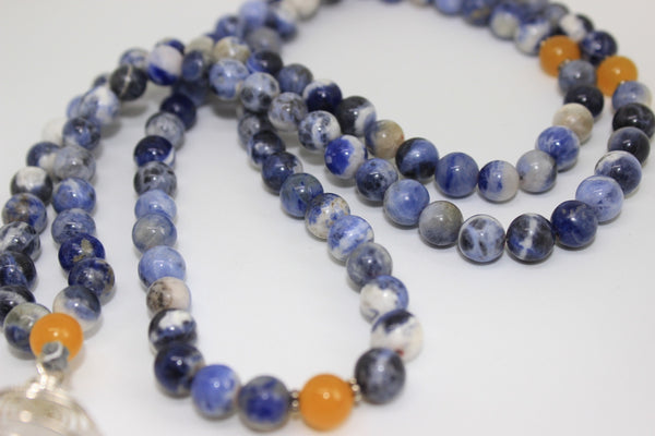 SAMPLE SALE : Genuine Sodalite & Yellow Agate Mala - Silver