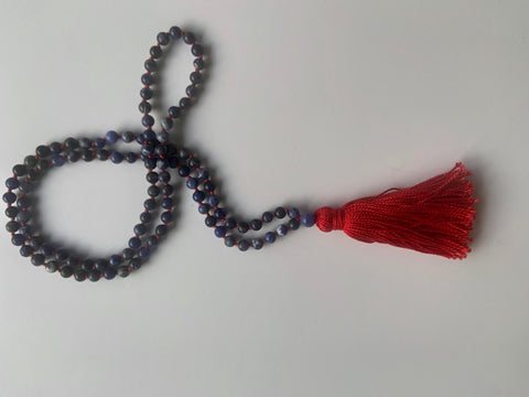 Knotted Sodalite - Red Tassel