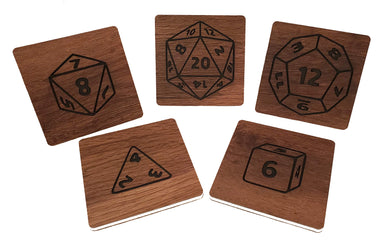 Wood Grain Drink Coasters - RPG Dice - Set of 5 - Kickstarted Games