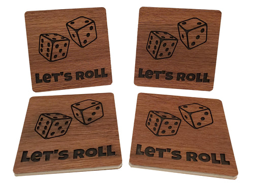Let's Roll Dice - Wood Grain Drink Coasters - Set of 4 - Kickstarted Games