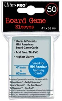 Ultrapro Small American Sized Board Game Sleeves (41x63mm - 50 Pk) - Kickstarted Games
