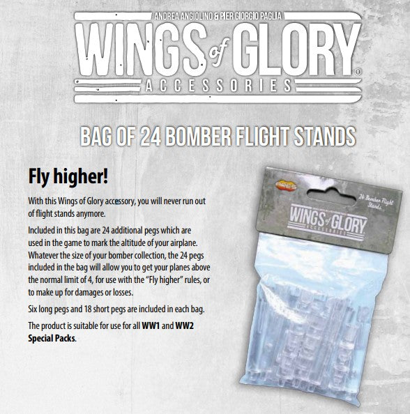 Wings Glory Bag of 24 Bomber Flight Stands - Kickstarted Games