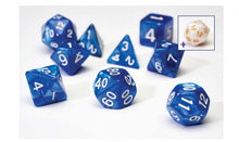 Load image into Gallery viewer, 7 Different Pearl Blue Resin Game Dice + Bonus White Resin D20 | Sirius Dice - Kickstarted Games