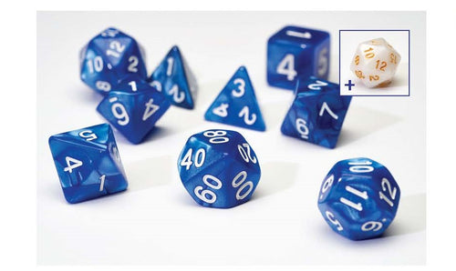 7 Different Pearl Blue Resin Game Dice + Bonus White Resin D20 | Sirius Dice - Kickstarted Games