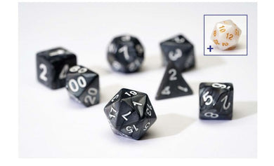 7 Different Pearl Charcoal Resin Game Dice + Bonus White Resin D20 | Sirius Dice - Kickstarted Games