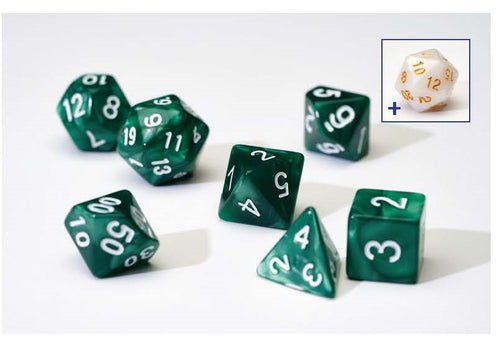 7 Different Pearl Green Resin Game Dice + Bonus White Resin D20 | Sirius Dice - Kickstarted Games