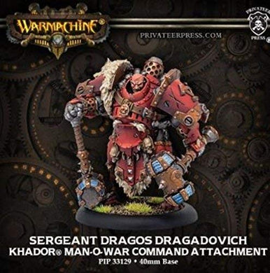 Warmachine PIP33129 Khador Sergeant Dragos Dragadovich Man-O-War Command Attachment Model Kit | Privateer Press - Kickstarted Games