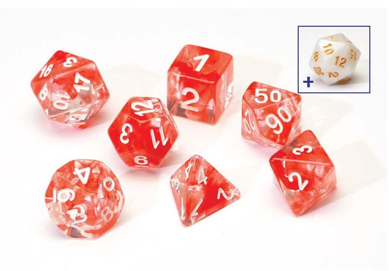 7 Different Red Resin Game Dice + Bonus White Resin D20 | Sirius Dice - Kickstarted Games