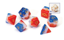 Load image into Gallery viewer, 7 Different Red, White & Blue Resin Game Dice + Bonus White Resin D20 | Sirius Dice - Kickstarted Games