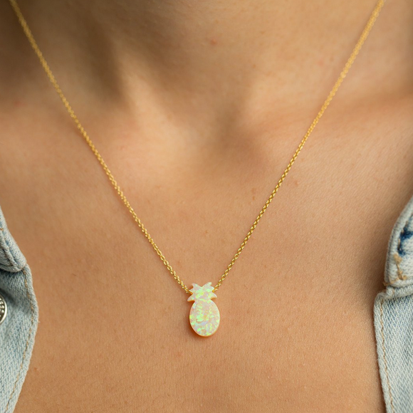 Pineapple opal pendant | 925 sterling silver necklace
