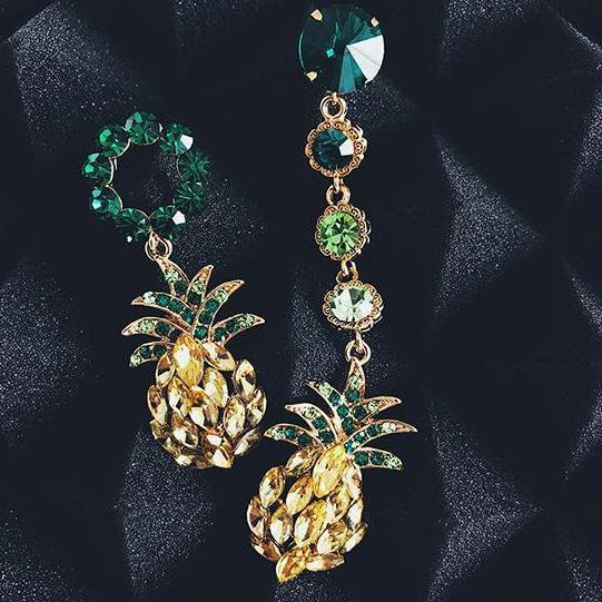 buy pineapple asymmetric crystal earrings