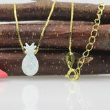 pineapple minimalist necklace opal