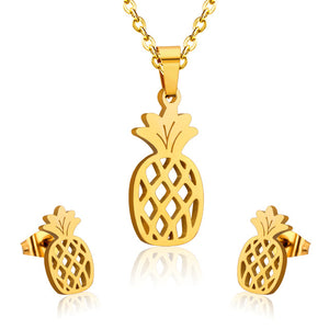 pineapple stainless steel minimalist set necklace earrings