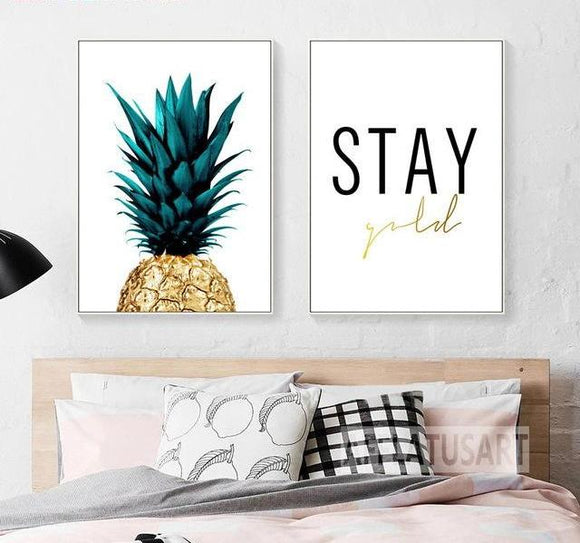 golden pineapple wall art