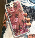 Pineapple and Cactus Glitter Liquid Quicksand Case for iPhone