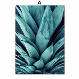 Pineapple wall art green leaves