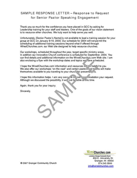 WiredChurches Senior Pastors Assistant Response Letters – Response Letter