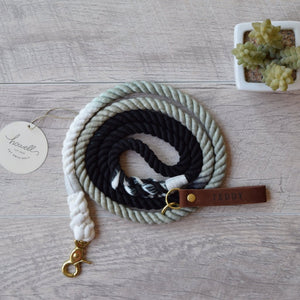 Original Cotton Rope Dog Leash & Rope Dog Collar Set - Black Ombre - Howell Pet Originals