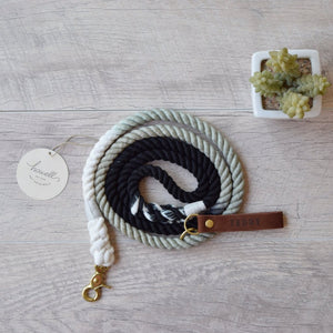 Original Cotton Rope Dog Leash - Black Ombre - Howell Pet Originals