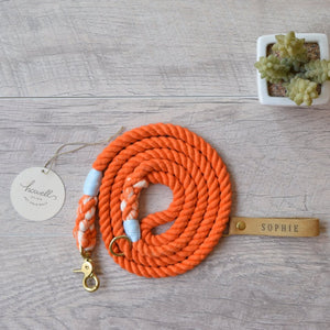 Original Cotton Rope Dog Leash & Rope Dog Collar Set - Orange - Howell Pet Originals