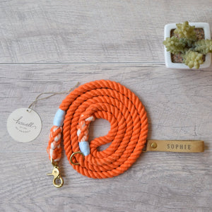 Original Cotton Rope Dog Leash - Orange - Howell Pet Originals