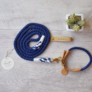 Original Cotton Rope Dog Leash & Rope Dog Collar Set - Navy - Howell Pet Originals
