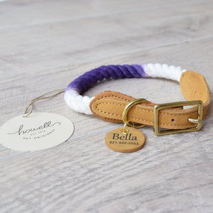 Original Cotton Rope Dog Leash & Rope Dog Collar Set - Purple Ombre - Howell Pet Originals