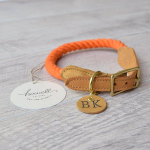 Original Cotton Rope Dog Collar - Orange - Howell Pet Originals