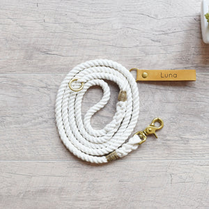 Rope Dog Leash & Rope Dog Collar Set - White | Original Cotton