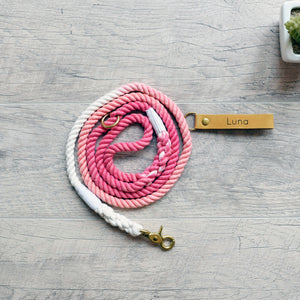 Rope Dog Leash & Rope Dog Collar Set - Pink Ombre | Original Cotton