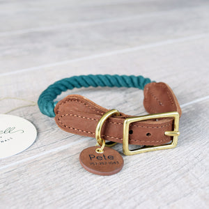 Rope Dog Collar - Forest Green | Original Cotton Fashion Collar