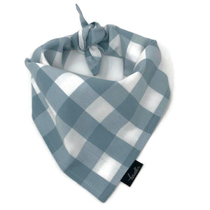 Dog Bandana - Gray and White Check Gingham