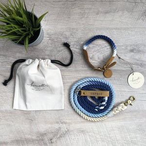 Original Cotton Rope Dog Leash & Rope Dog Collar Set - Navy Ombre - Howell Pet Originals