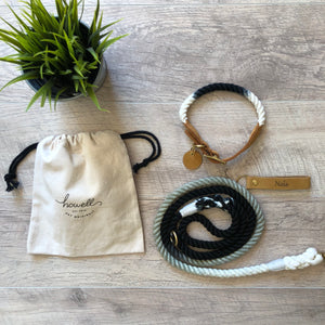 black ombre leash and collar set