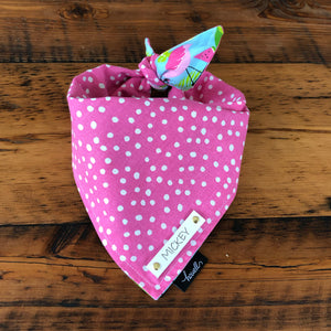 Reversible Dog Bandana - Pink with Polka Dots and Flamingos