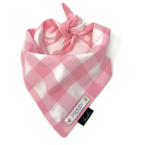 Dog Bandana - Pink and White Check Gingham