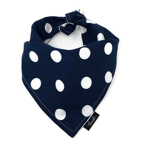 Reversible Dog Bandana - Navy Polka Dot and Anchors
