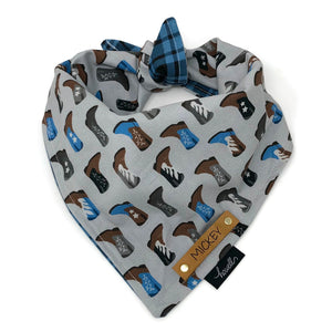 Reversible Dog Bandana - Blue Plaid and Cowboy Boot Gray