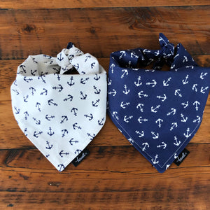 Dog Bandana - Navy with White Anchors
