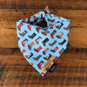 Reversible Dog Bandana - Red Paisley and Cowboy Boot Blue