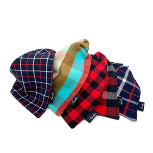 Dog Bandana - Red and Gray Plaid Flannel