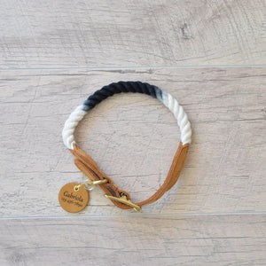 Rope Dog Collar - Black Ombre with Tan Leather | Original Cotton Fashion Collar