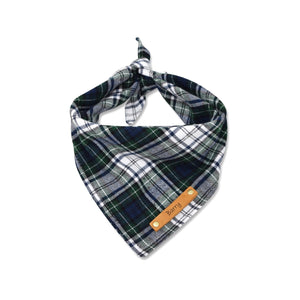 blue white plaid dog bandana