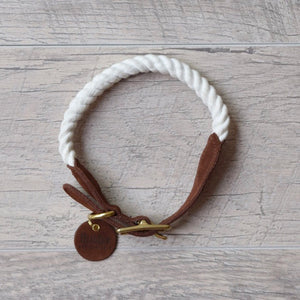 Original Cotton Rope Dog Collar - White - Howell Pet Originals