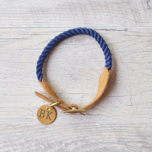 Original Cotton Rope Dog Collar - Navy - Howell Pet Originals