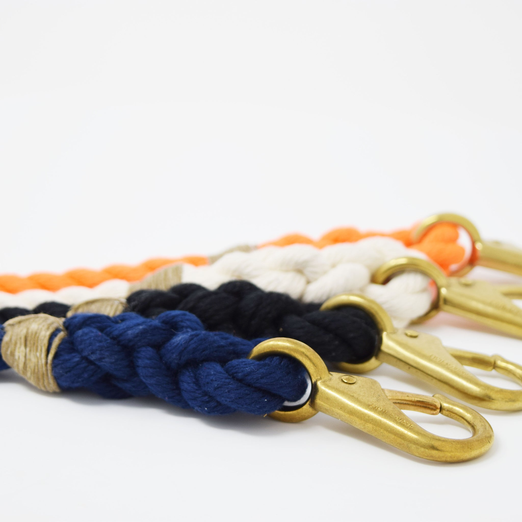 Fixed Length Dog Necklace Spun Polyester Rope with Italian Bronze Snap Mariner Series Black Rope Dog Collar