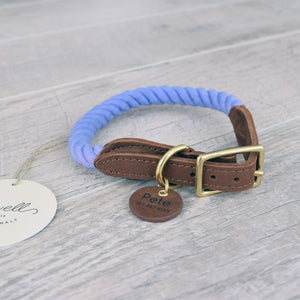 Rope Dog Leash & Rope Dog Collar Set - Purple Periwinkle | Original Cotton