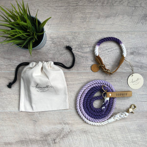 Original Cotton Rope Dog Leash - Violet Ombre - Howell Pet Originals